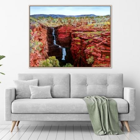 Corinne Barton - 'Joffre Falls' in a room framed