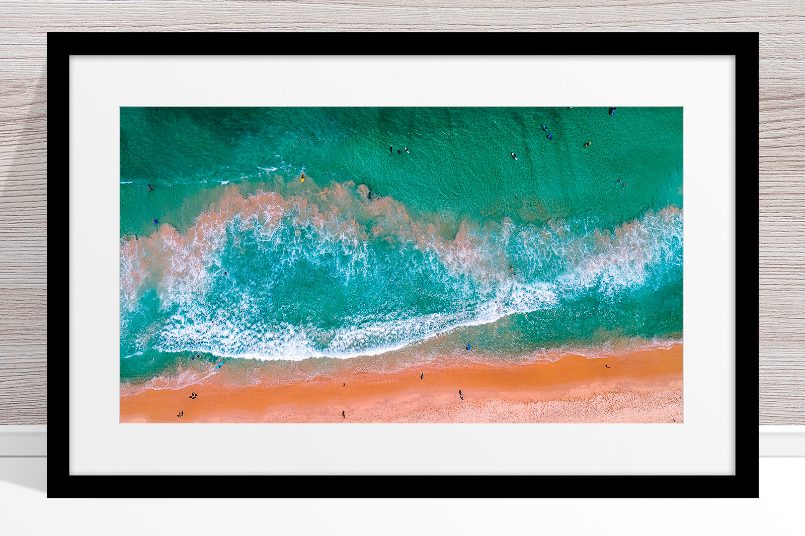 001 - Jason Mazur - 'Scarborough Beach Aerial' Black Frame
