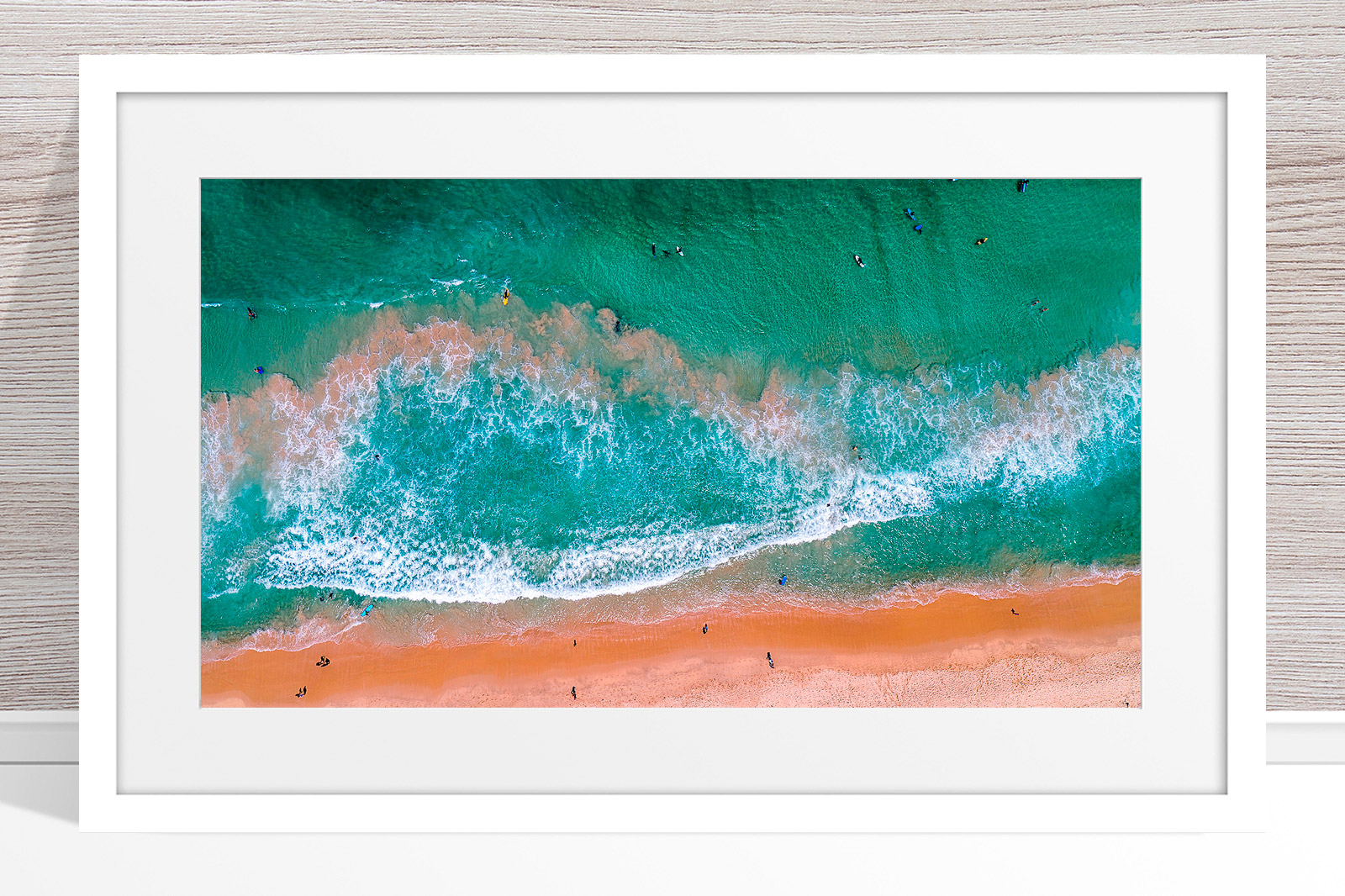 001 - Jason Mazur - 'Scarborough Beach Aerial' White Frame