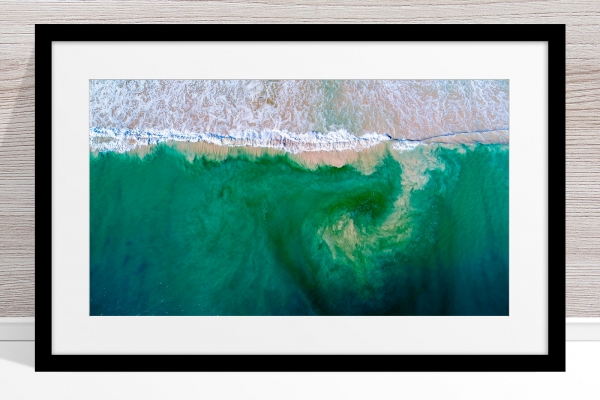001 - Jason Mazur - 'South City Beach Aerial' Black Frame