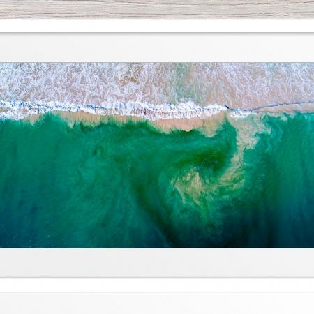 001 - Jason Mazur - 'South City Beach Aerial' White Frame