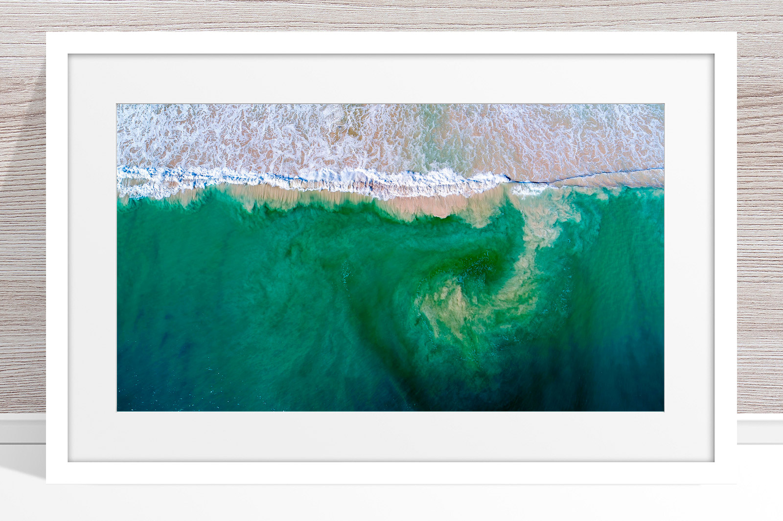 001 - Jason Mazur - 'South City Beach Aerial' White Frame