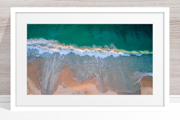 014 - Jason Mazur - 'City Beach Aerial' White Frame