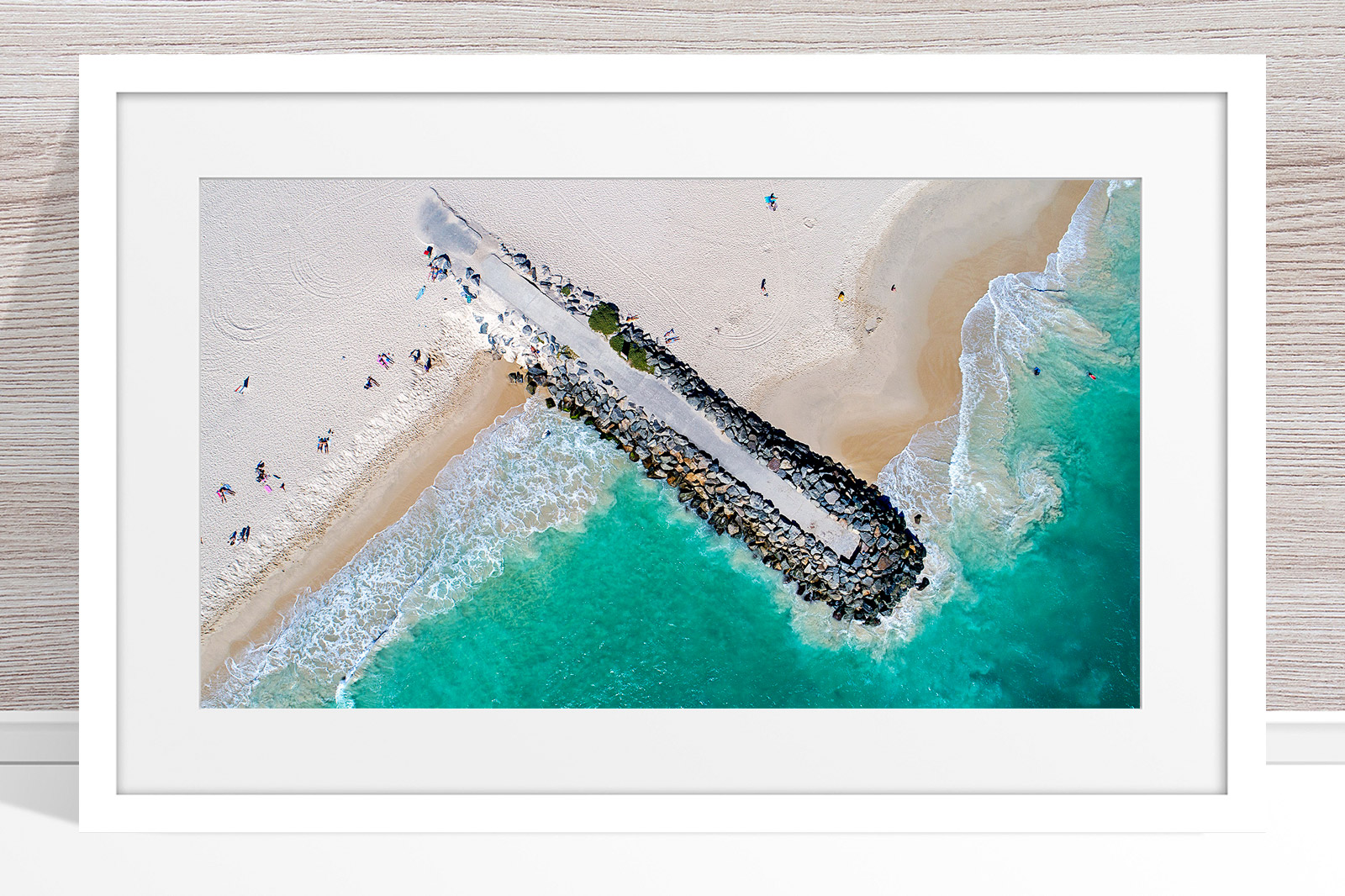 021 - Jason Mazur - 'City Beach Groyne' White Frame