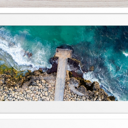 057 - Jason Mazur - 'North Beach Jetty' White Frame