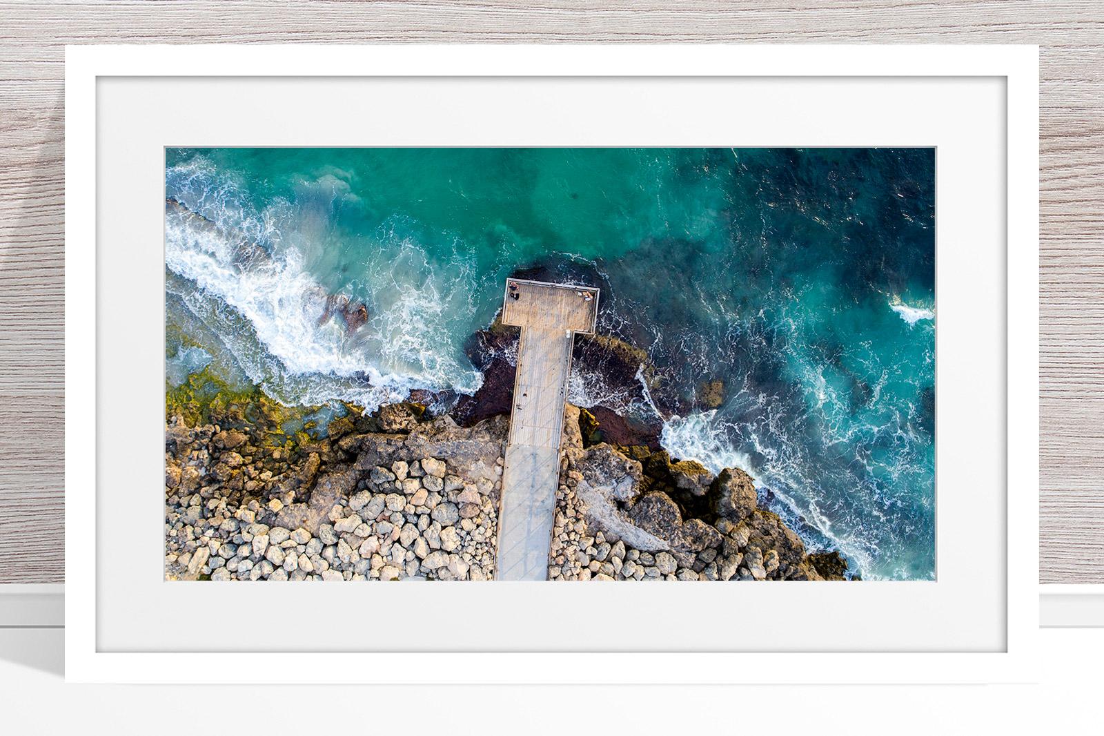 057 - Jason Mazur - 'North Beach Jetty' White Frame