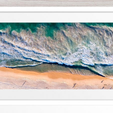 081 - Jason Mazur - 'Scarborough Beach Aerial' White Frame