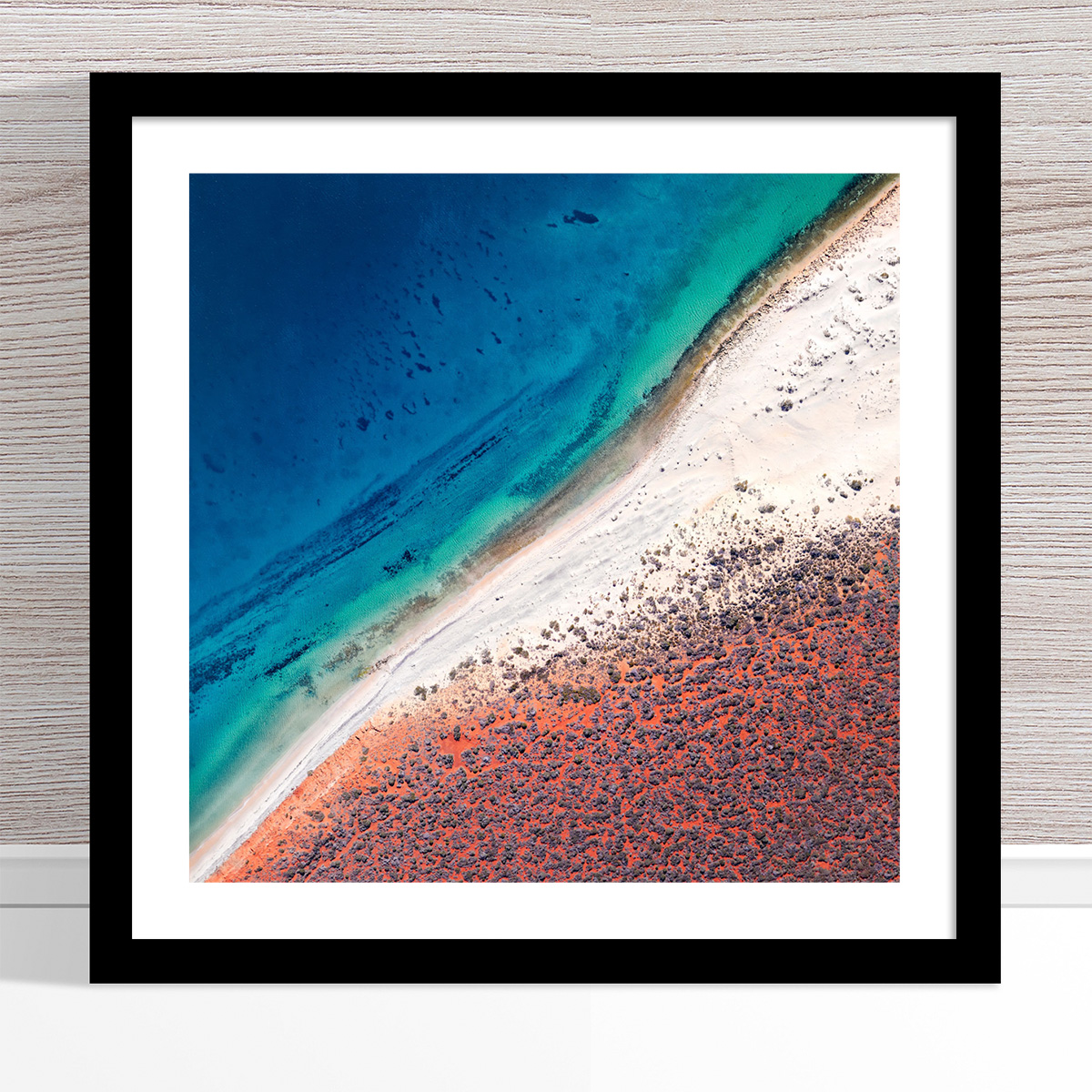 Chris Saunders - 'Aerial Coast 001' Black Frame