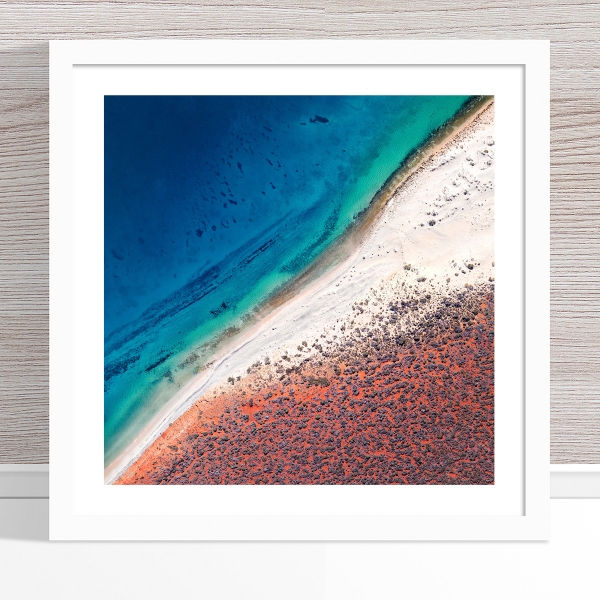 Chris Saunders - 'Aerial Coast 001' White Frame