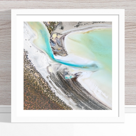 Chris Saunders - 'Aerial Coast 002' White Frame