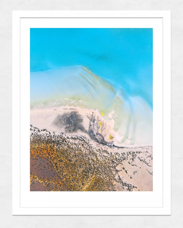 Chris Saunders - 'Aerial-Coast-004' White Frame