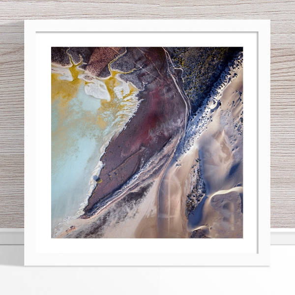 Chris Saunders - 'Aerial Coast 005' White Frame