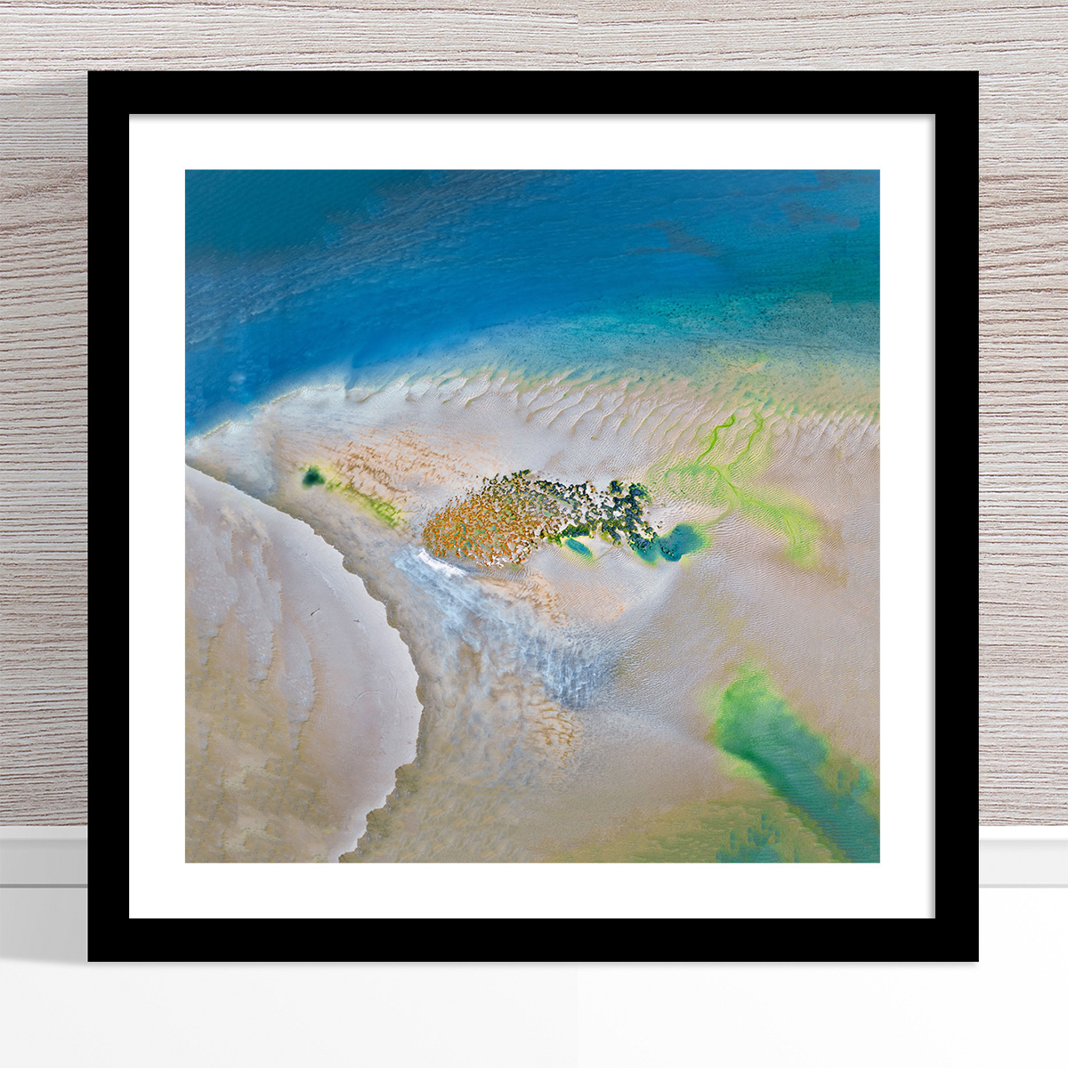 Chris Saunders - 'Aerial Coast 008' Black Frame