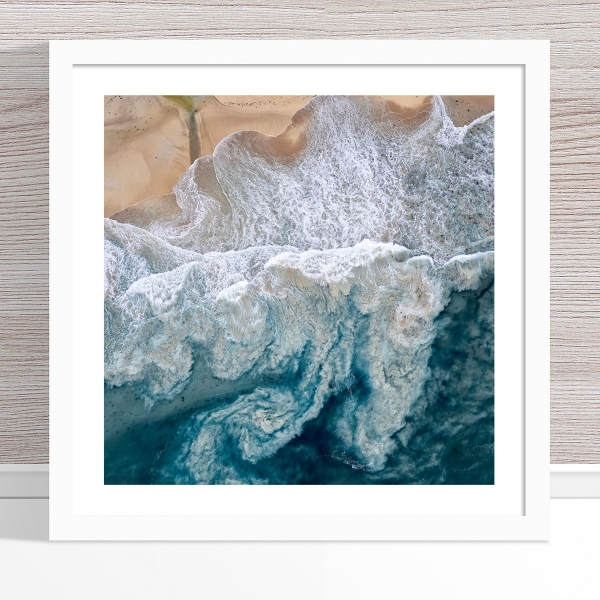 Chris Saunders - 'Aerial Coast 010' White Frame