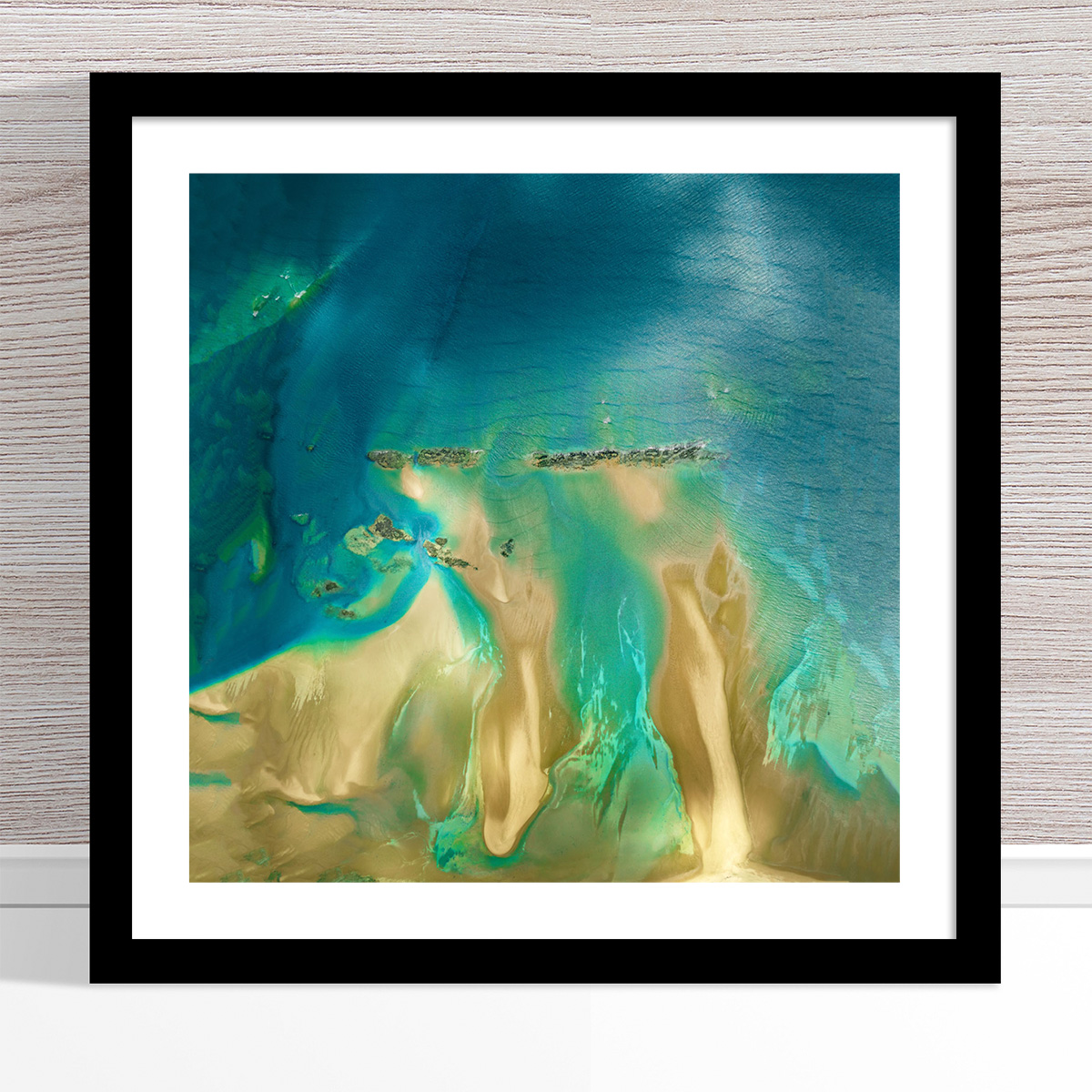 Chris Saunders - 'Aerial Coast 011' Black Frame