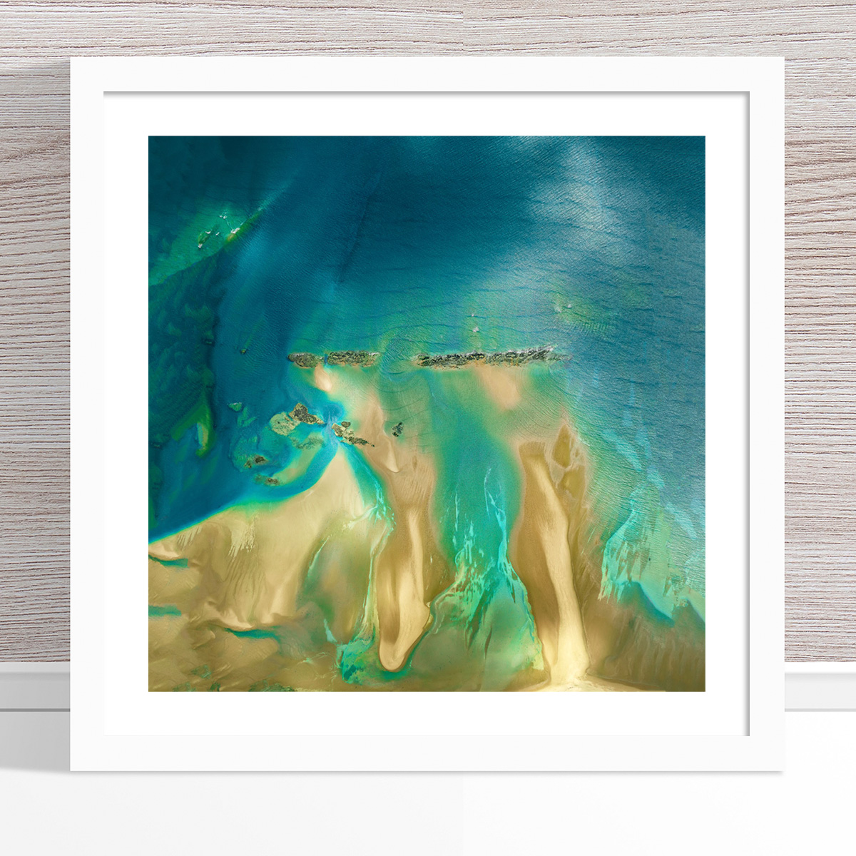 Chris Saunders - 'Aerial Coast 011' White Frame