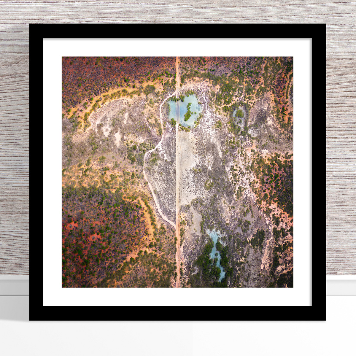 Chris Saunders - 'Aerial Outback 001' Black Frame