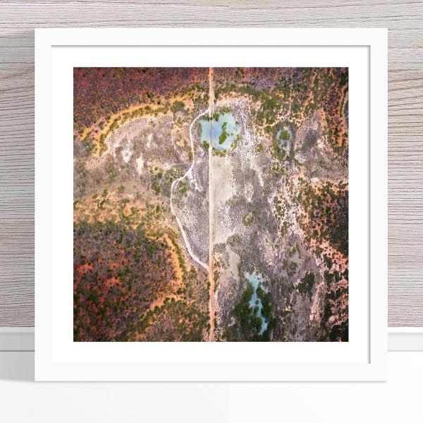 Chris Saunders - 'Aerial Outback 001' White Frame