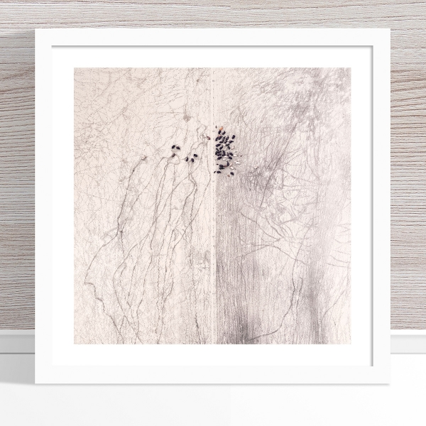 Chris Saunders - 'Aerial Outback 002' White Frame