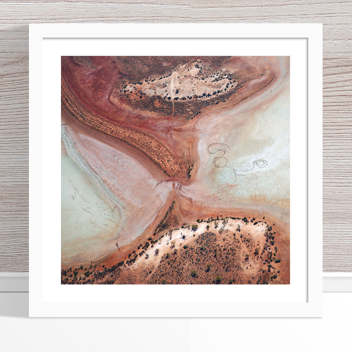 Chris Saunders - 'Aerial Outback 003' White Frame