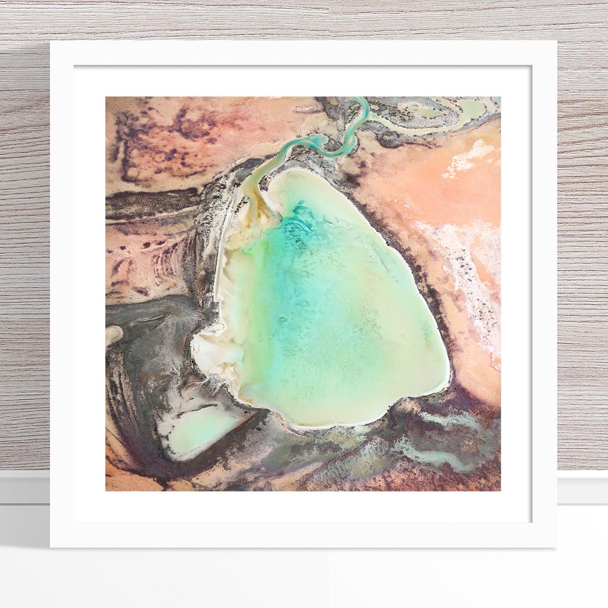Chris Saunders - 'Aerial Outback 005' White Frame