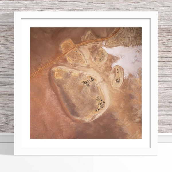 Chris Saunders - 'Aerial Outback 009' White Frame