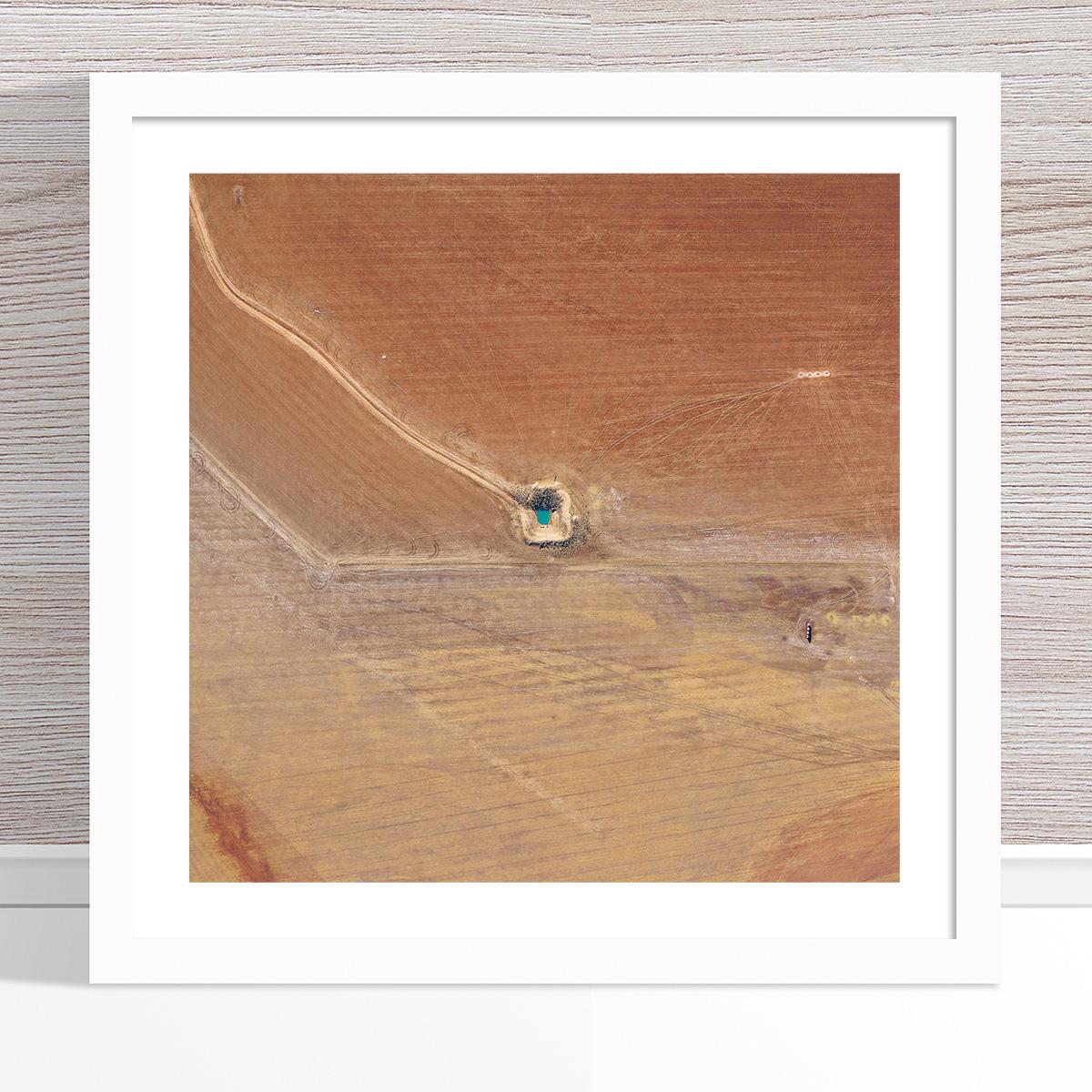 Chris Saunders - 'Aerial Outback 013' White Frame