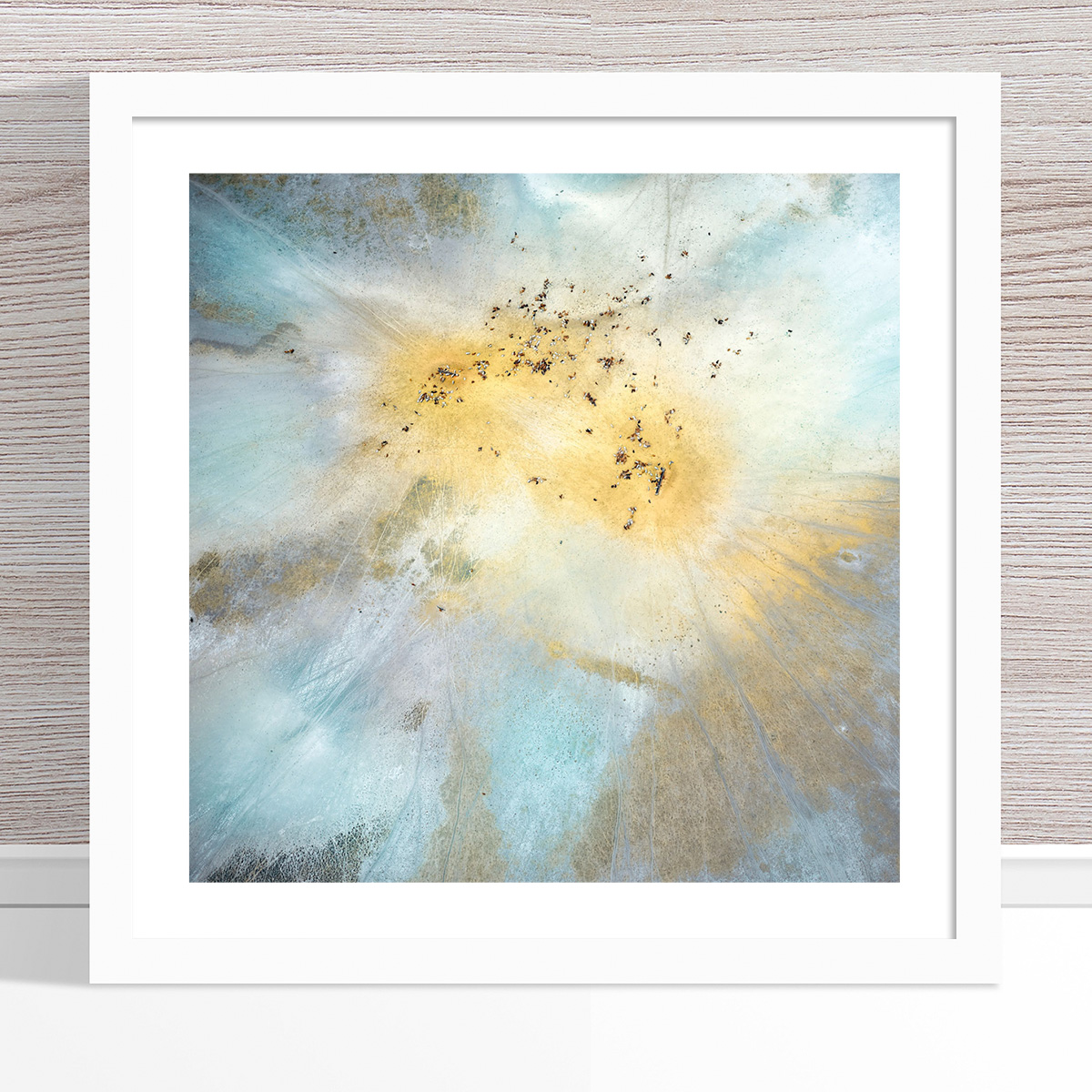 Chris Saunders - 'Aerial Outback 014' White Frame