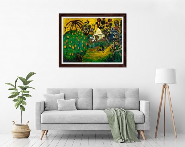 Glenn Brady - 'Backyard Mango Tree' Framed in a room