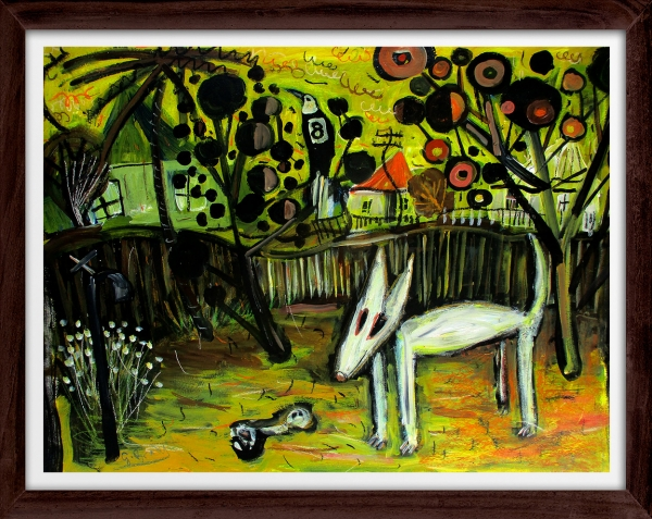 Glenn Brady - 'Bull Terrier in the Backyard' Framed