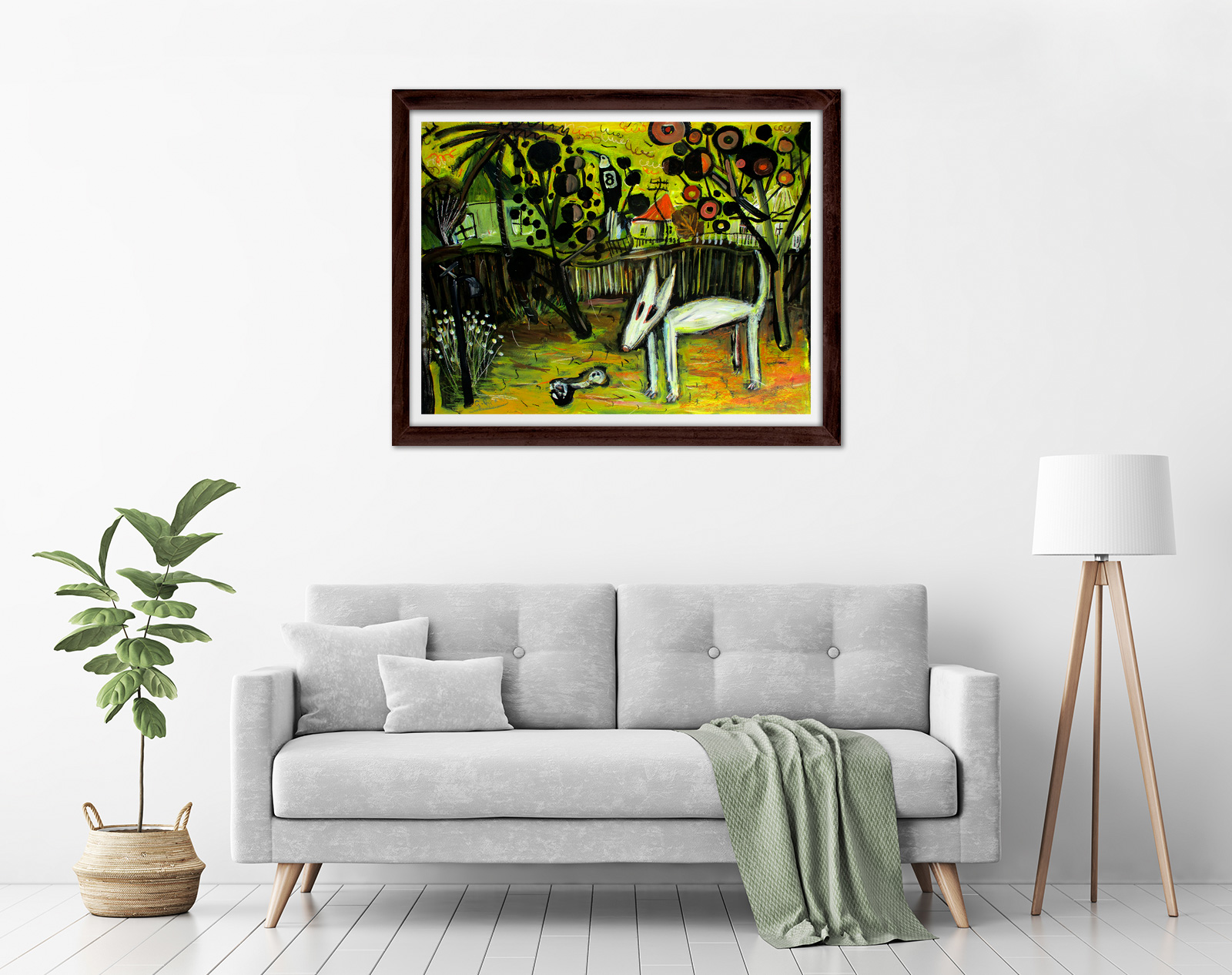 Glenn Brady - 'Bull Terrier in the Backyard' Framed in a room