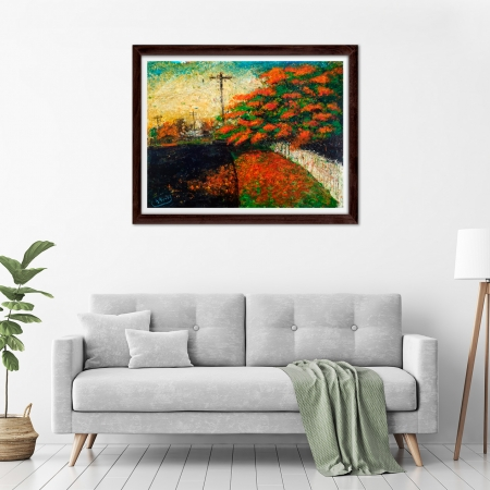 Glenn Brady - 'January Poinciana' Framed in a room