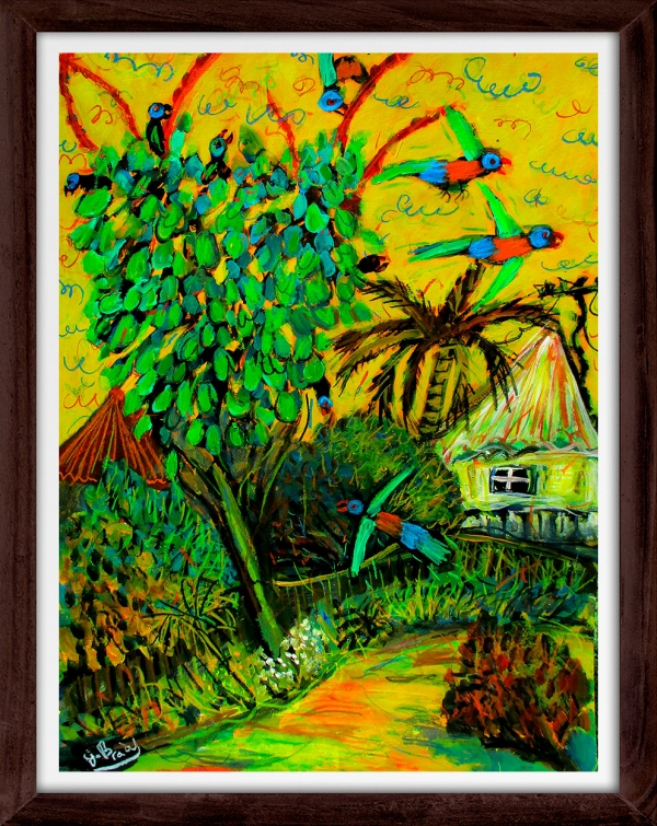 Glenn Brady - 'Lorikeets in the Umbrella Tree' Framed