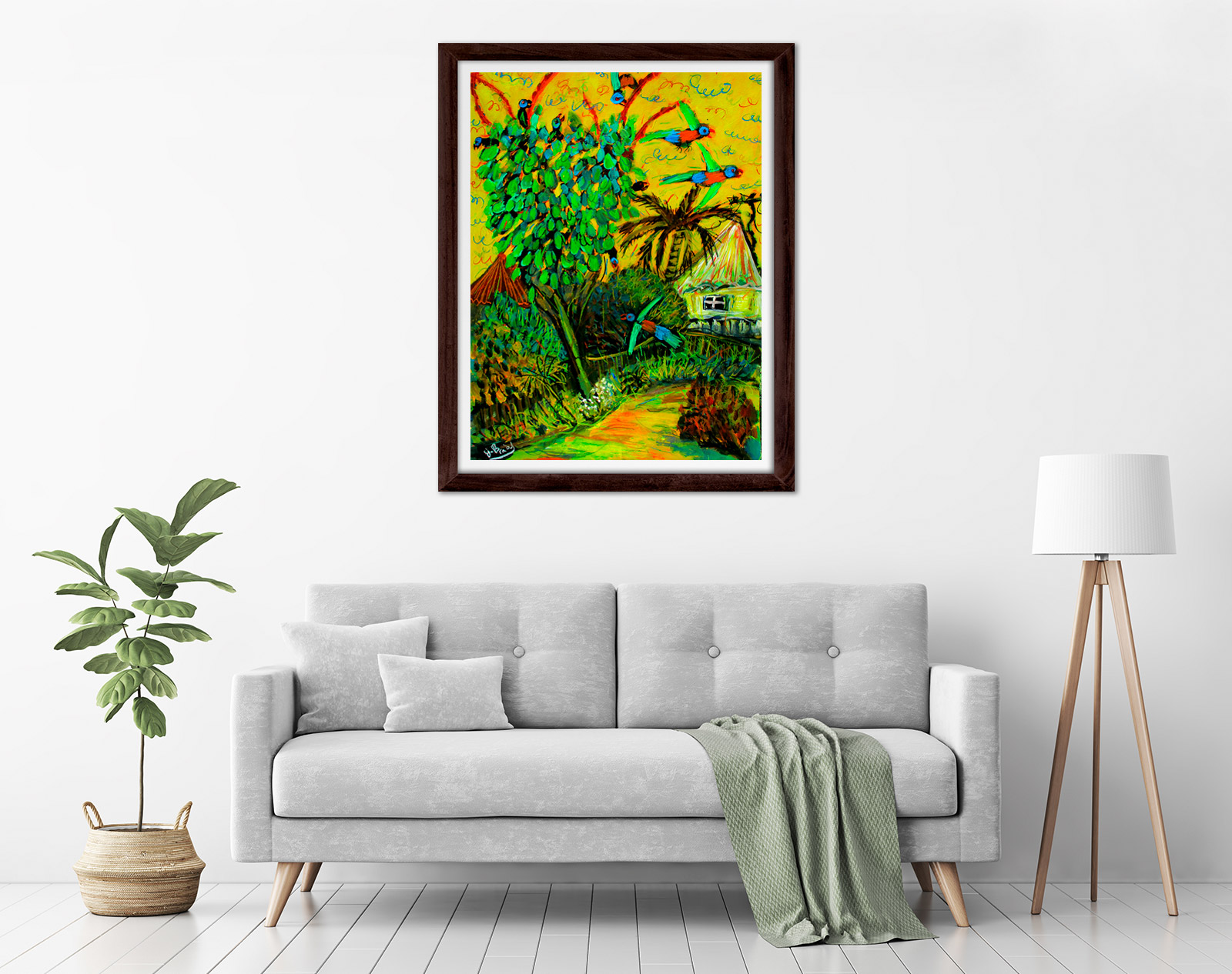 Glenn Brady - 'Lorikeets in the Umbrella Tree' Framed in a room