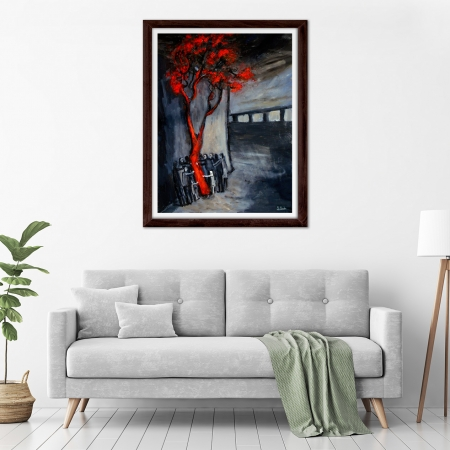 Glenn Brady - 'Around the Red Tree' Framed in a room