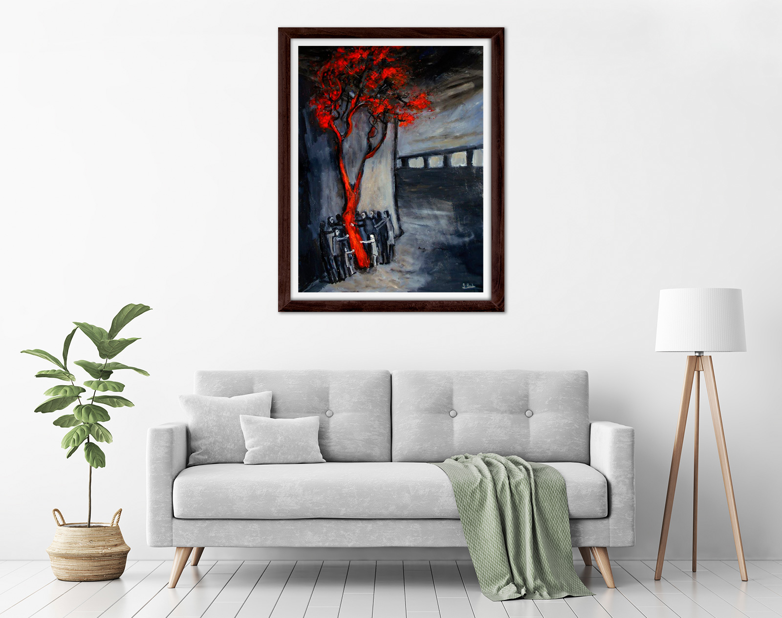 Glenn Brady - 'Around the Red Tree' Framed in a room