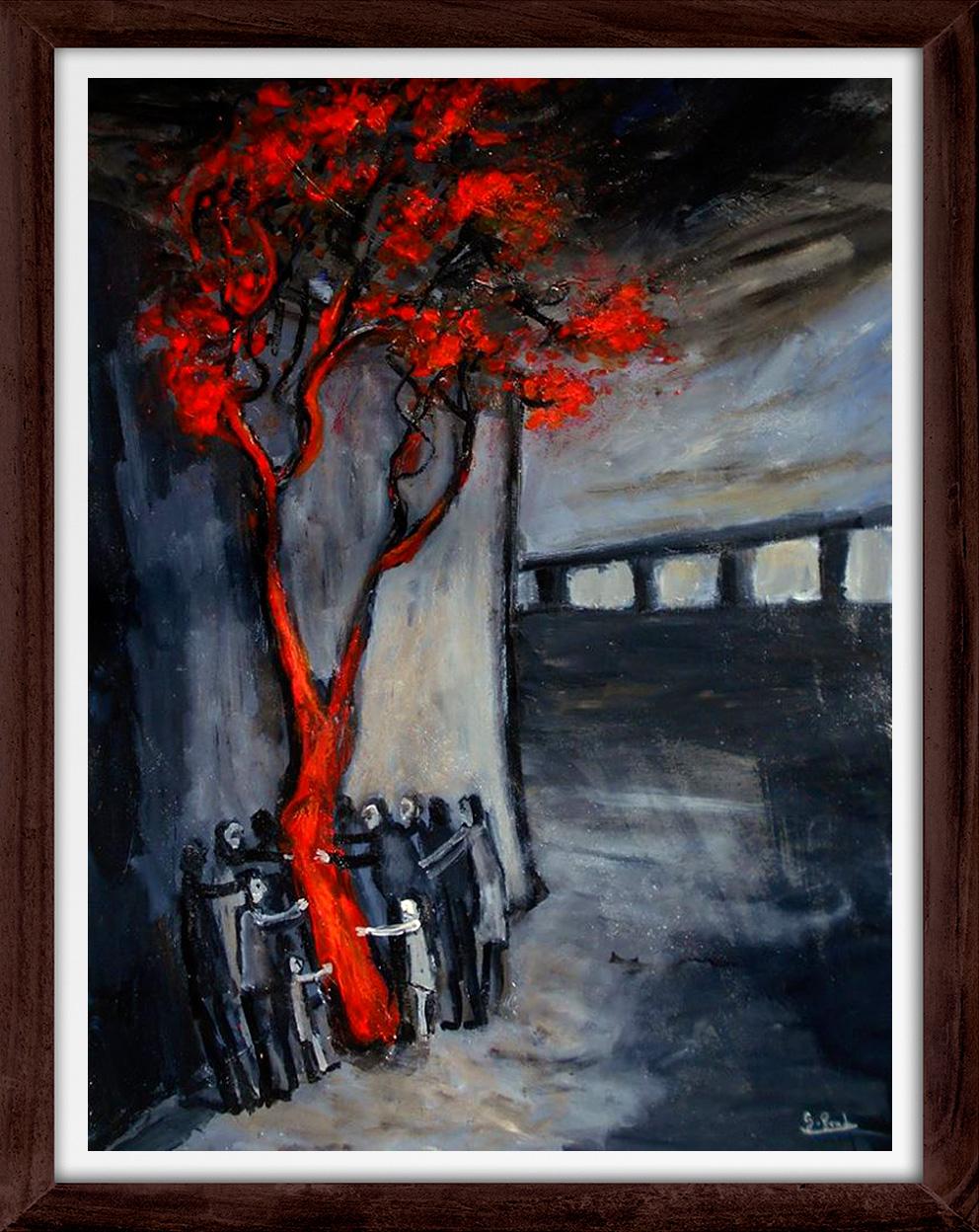 Glenn Brady - 'Around the Red Tree' Framed