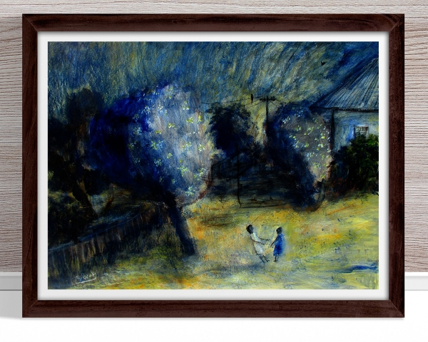 Glenn Brady - 'Backyard Trees and Children' Framed