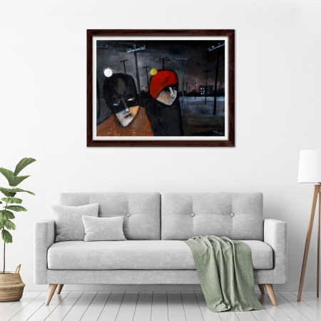 Glenn Brady - 'Blokes In Beanies' Framed in a room