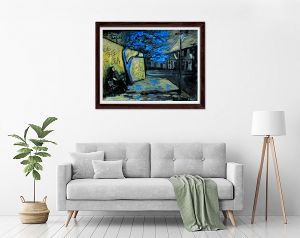 Glenn Brady - 'Blue Tree Forever' Framed in a room