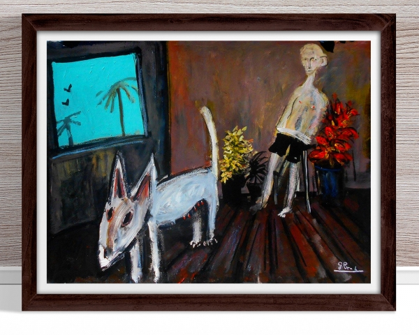 Glenn Brady - 'Bull Terrier and Man' Framed