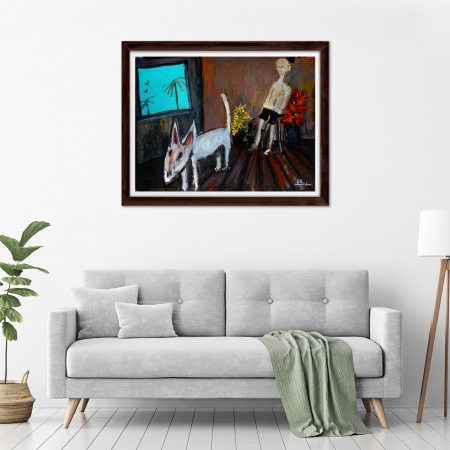 Glenn Brady - 'Bull Terrier and Man' Framed in a room