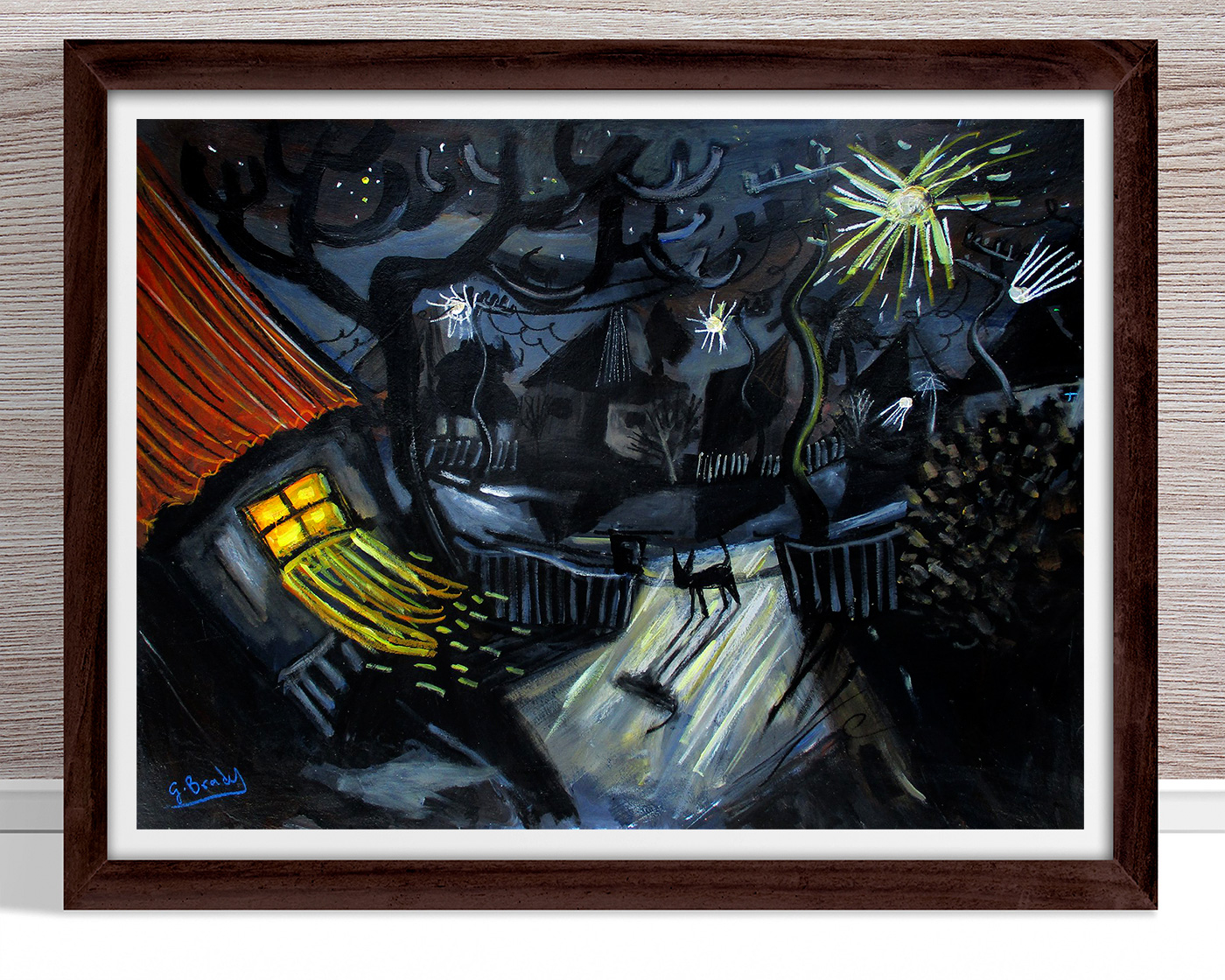 Glenn Brady - 'Cat in the Driveway' Framed