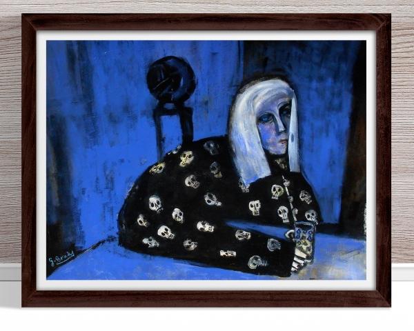 Glenn Brady - 'Colleen in Skull Pyjamas' Framed