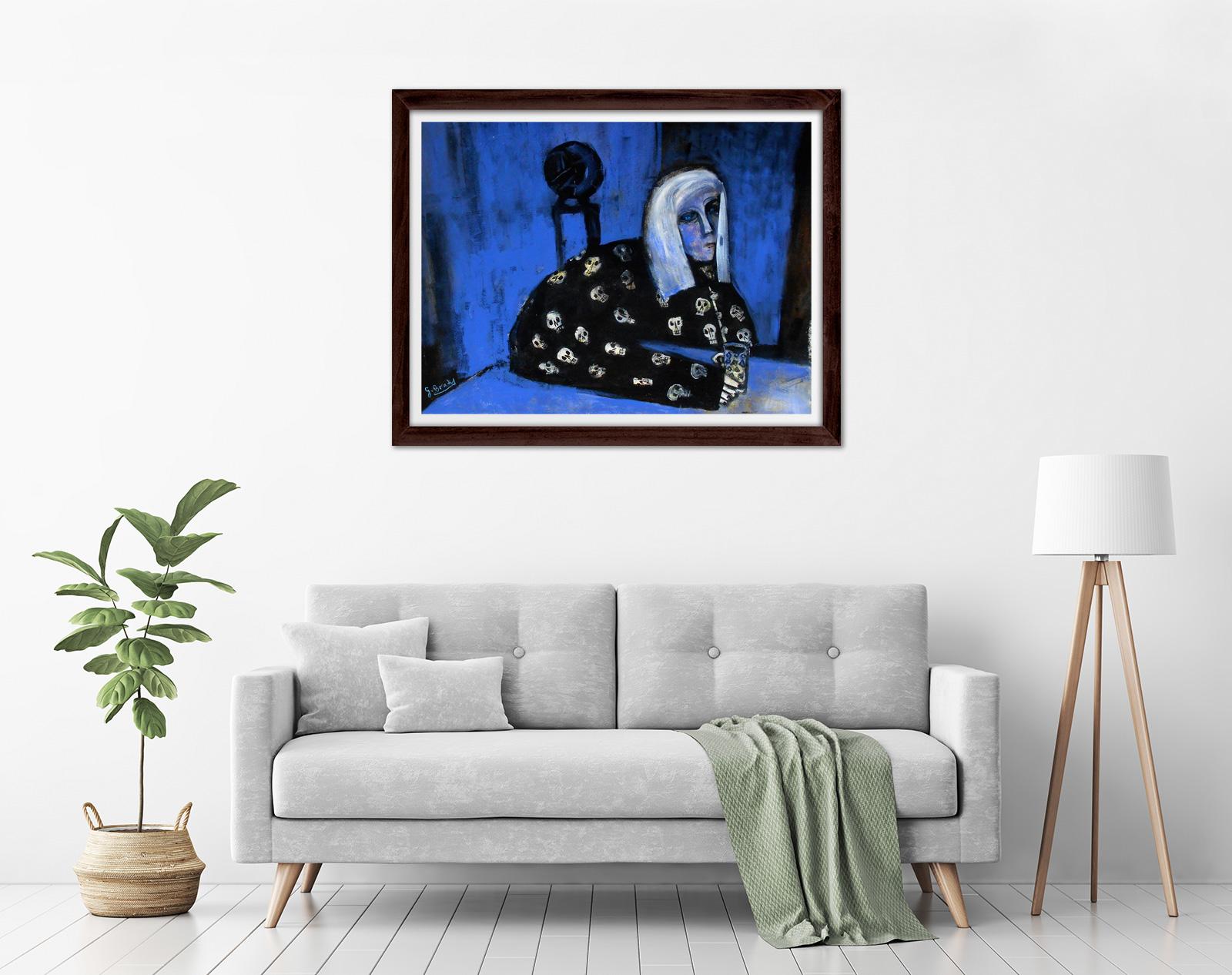 Glenn Brady - 'Colleen in Skull Pyjamas' Framed in a room