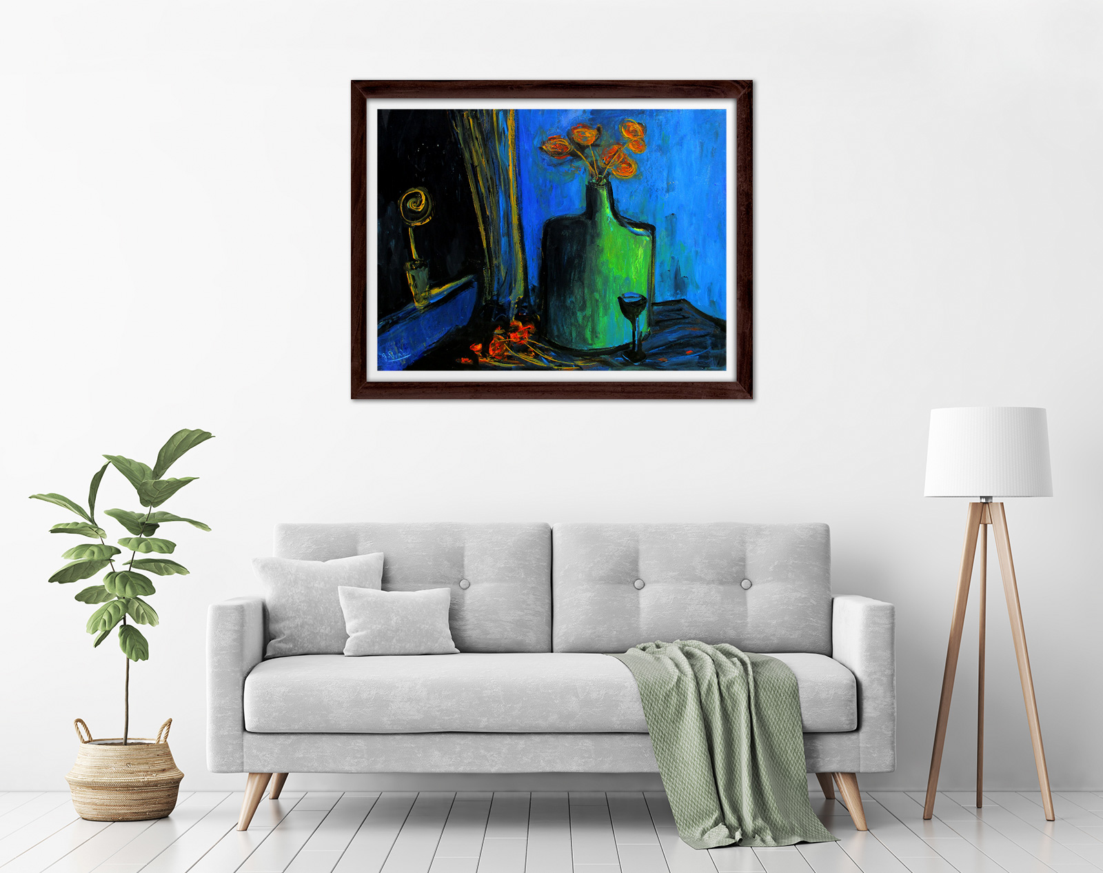 Glenn Brady - 'Flowers in a Flagon' Framed in a room