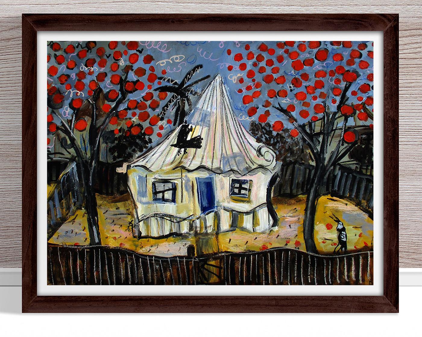 Glenn Brady - 'Front Yard Red Flower Trees' Framed