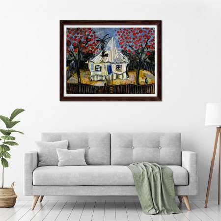 Glenn Brady - 'Front Yard Red Flower Trees' Framed in a room
