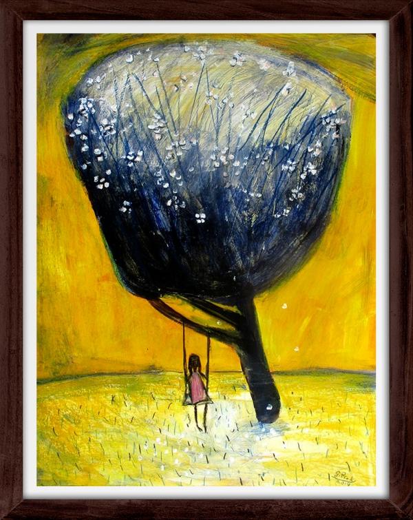 Glenn Brady - 'Girl on a Swing' Framed