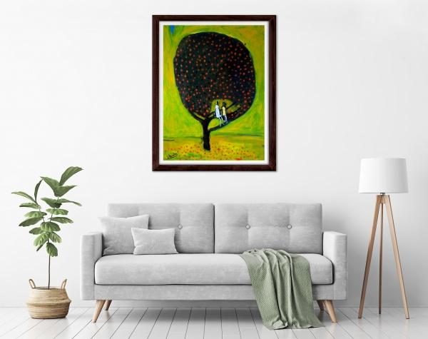 Glenn Brady - 'Girls in the Tree' Framed in a room